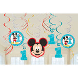 Mickey Mouse 1st Birthday Hanging Swirl Decorations (12)