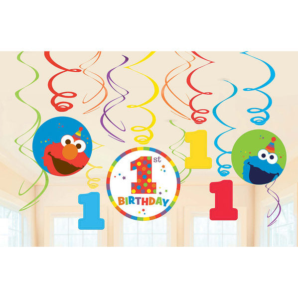 Sesame Street Elmo 1st Birthday Swirl Decorations - 12 Pack