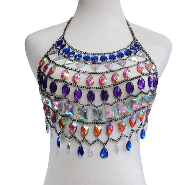 Jeweled Charm Chain Top