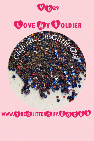 Love My Soldier Chunky Valentine's Mix Glitter