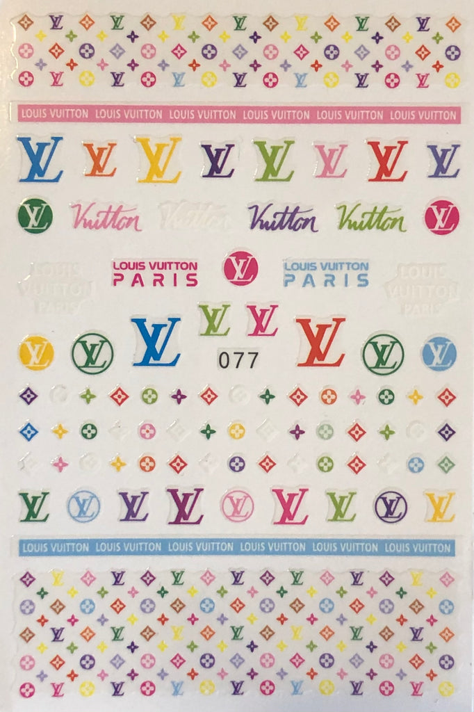 Colorful Louis Vuitton Nail Decals