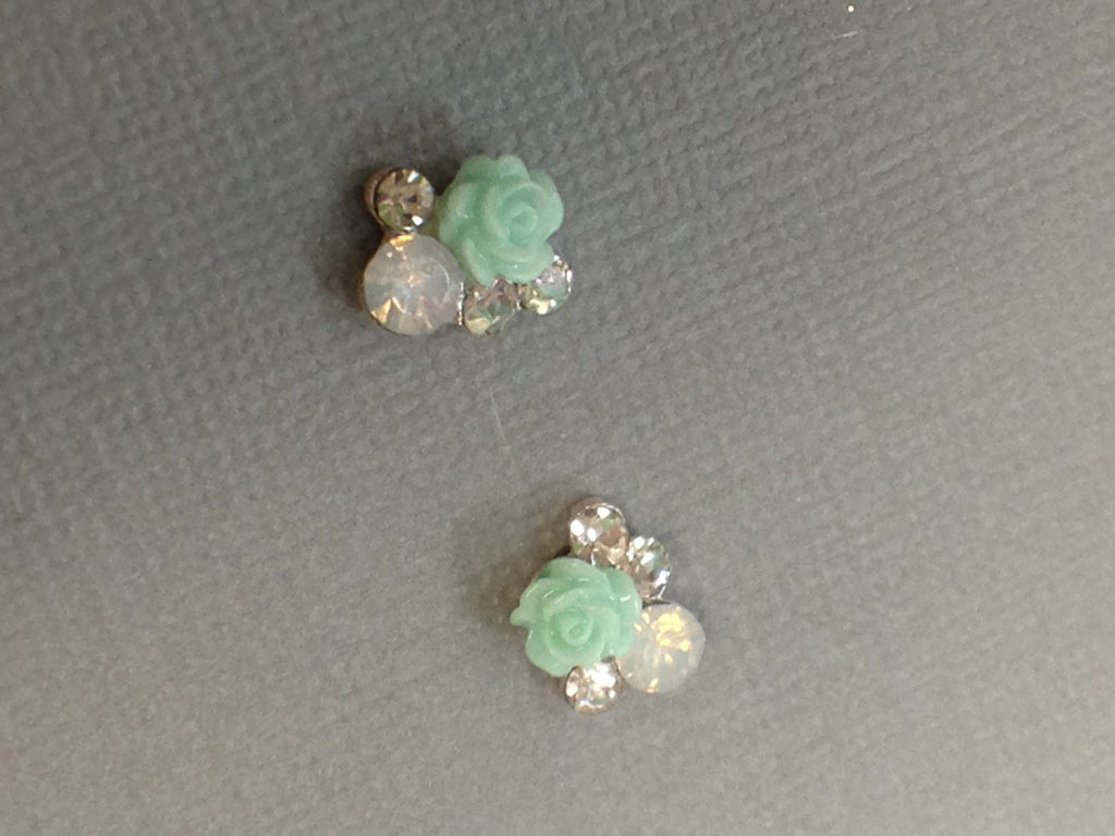 Light Green Rose, Opalescent Gem with Clear Rhinestones  (2)
