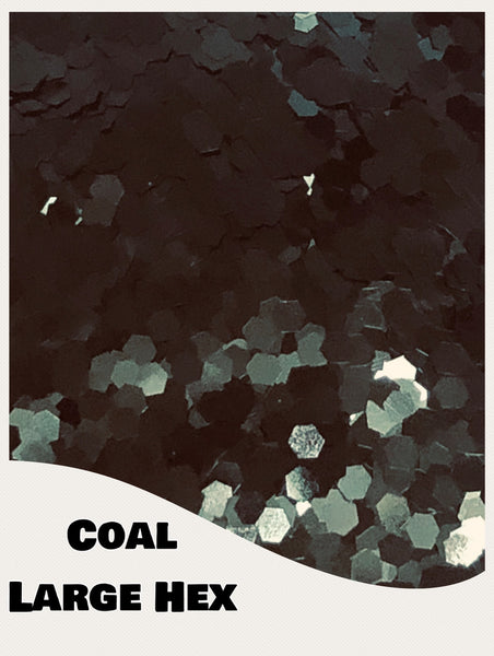 Coal Large Hex Glitter