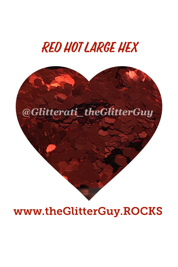 Red Hot Large Hex Glitter