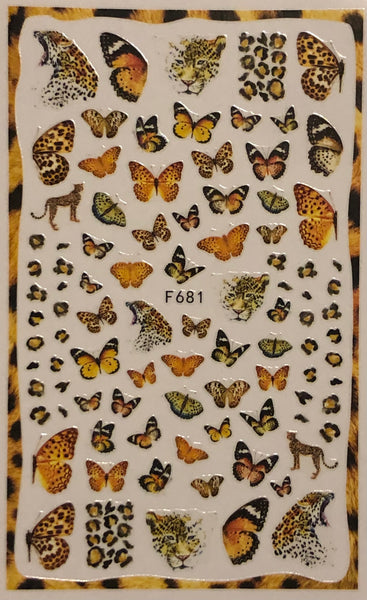 Butterflies & Leopards Nail Decals