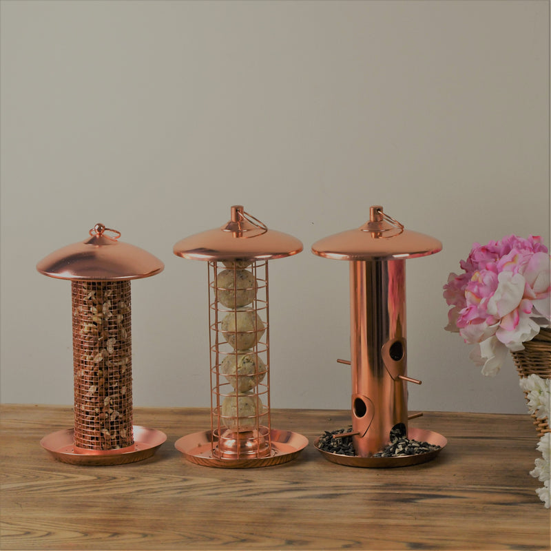 Trio of Copper Seed Feeders and seeds