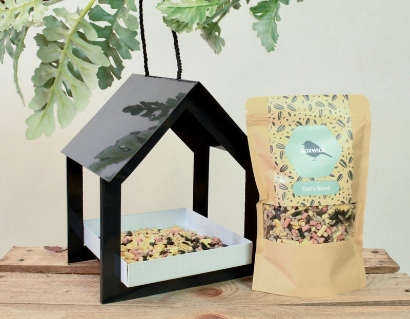 personalised bird seed and bird feeder for Father's Day