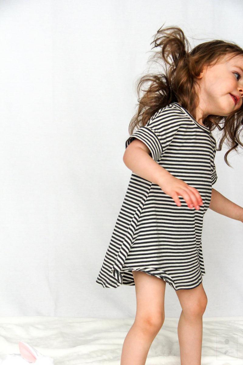 *New* The Little M Dress- Charcoal Stripe