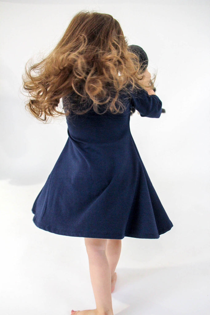 Jersey 3/4 Sleeve Dress | Navy