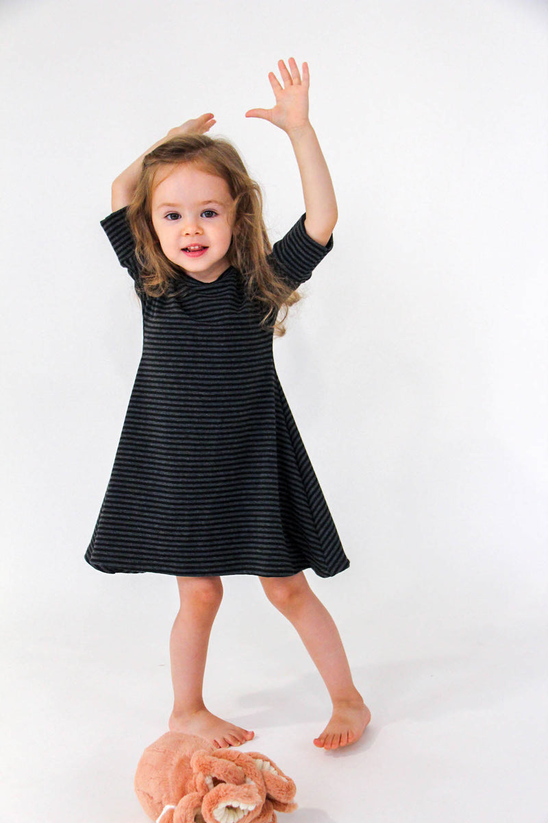 Jersey 3/4 Sleeve Dress | Black/Charcoal Stripe