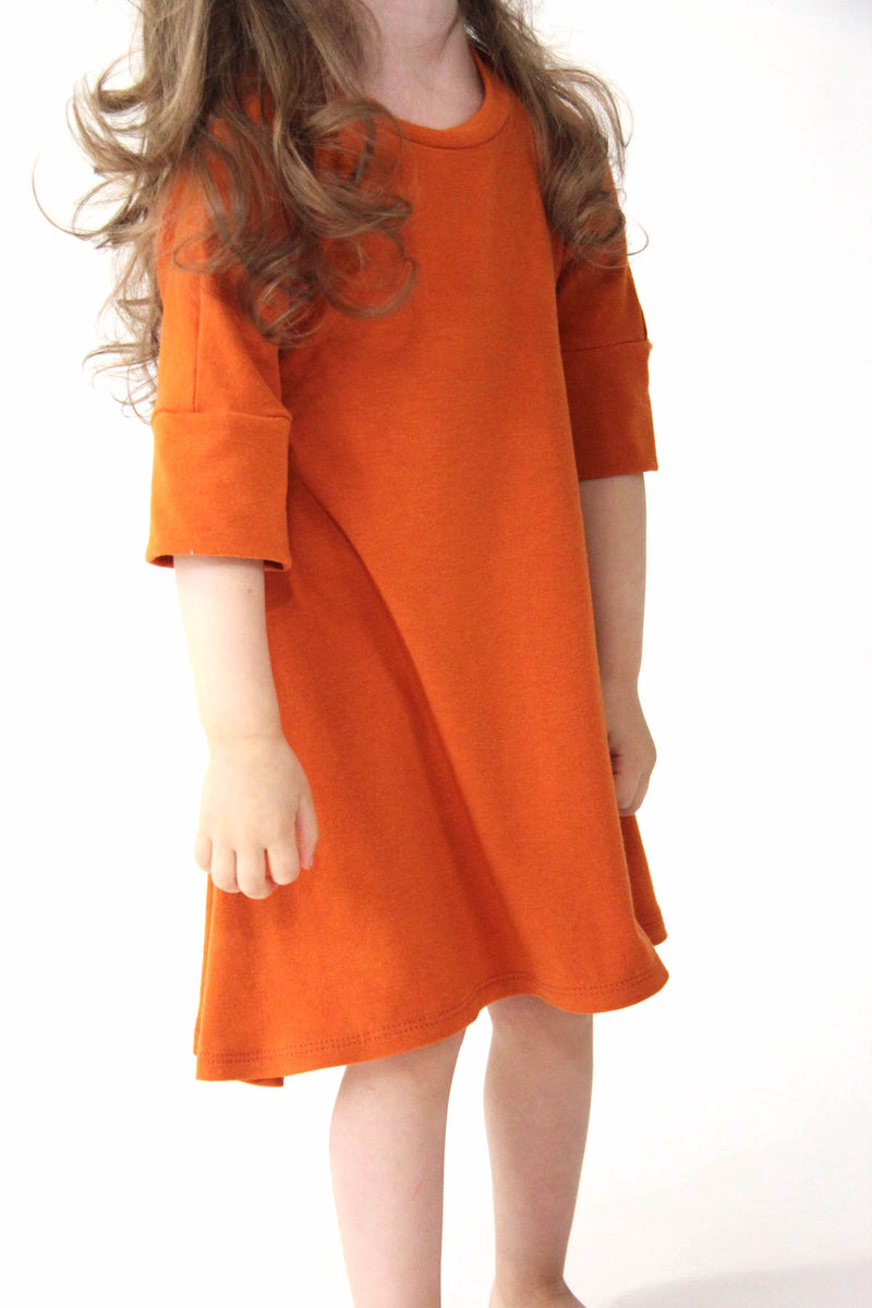 Jersey 3/4 Sleeve Dress | Persimmon
