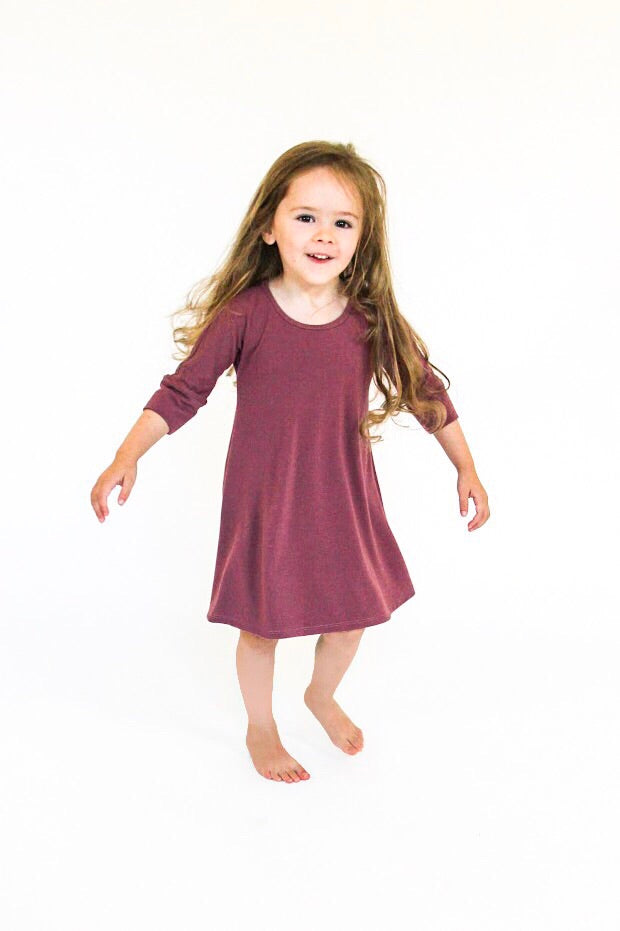 3/4 Sleeve Dress | Deep Currant
