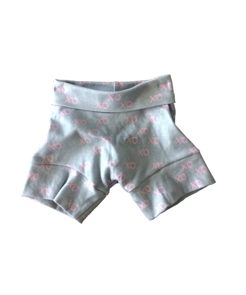 XO Pink and Grey - Spurts Shorts - MoMa Baby