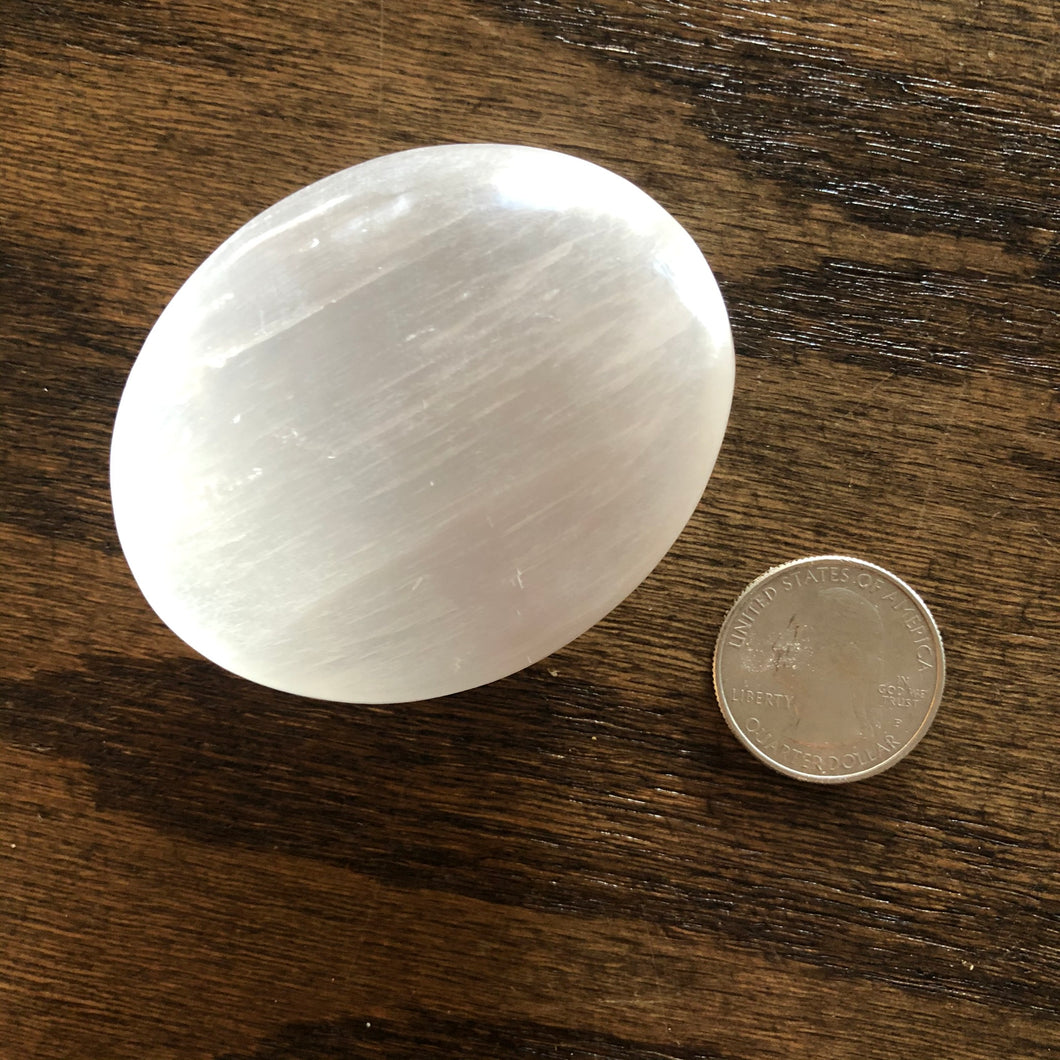 Selenite Palm Stone