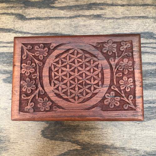 Carved Wooden Box (Flower of Life)