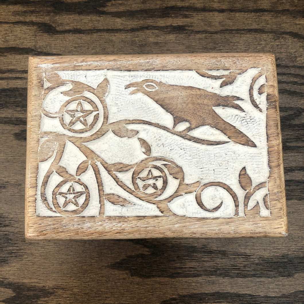 Carved Wooden Box (Raven)