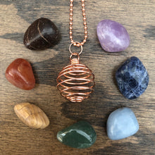 Crystal Pendant Cage with Chakra Set (Copper)