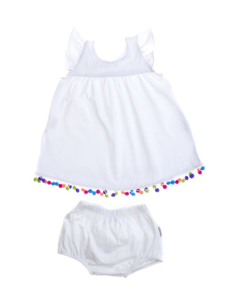 Flutter Dress with Bloomer and Coloured Pom Poms - All Smiles