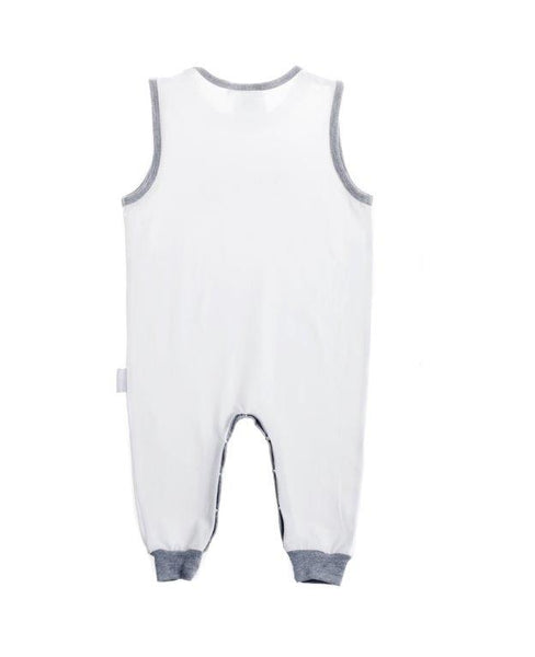 Baby Romper - white with grey trim