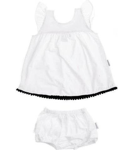 White flutter dress with black pom pom trim