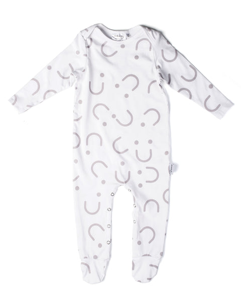 Basic Babygrow - All Smiles - Full Print Pastel Cheeks Pink