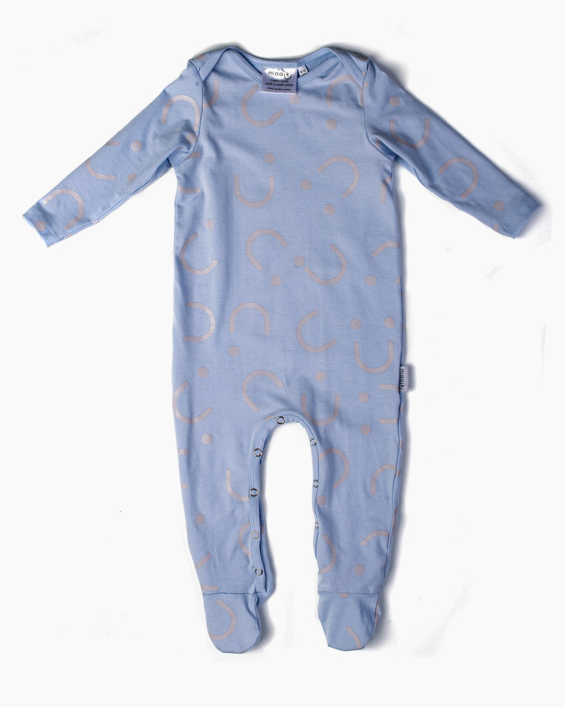 Basic Babygrow - All Smiles - Full Print Misty Blue