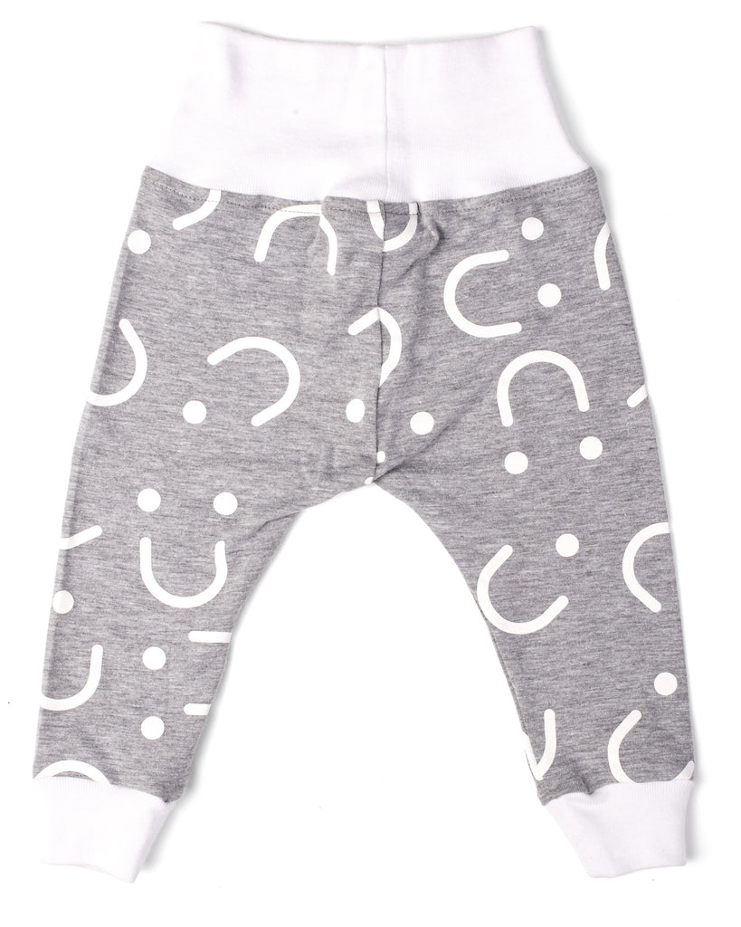 Leggings - Fold-over - Grey and White