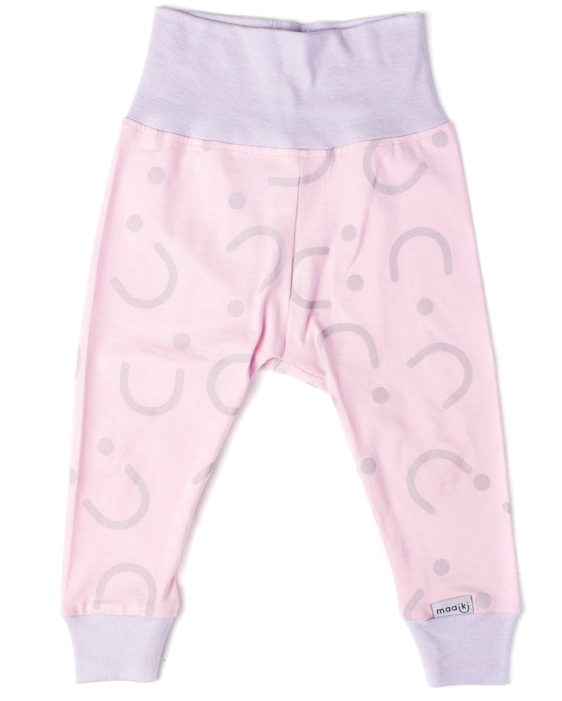 Leggings - Fold-over - Pastel Cheeks Pink and Lilac
