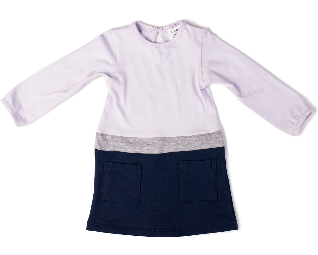 Colour Block Dress and Tights - Lilac and Navy