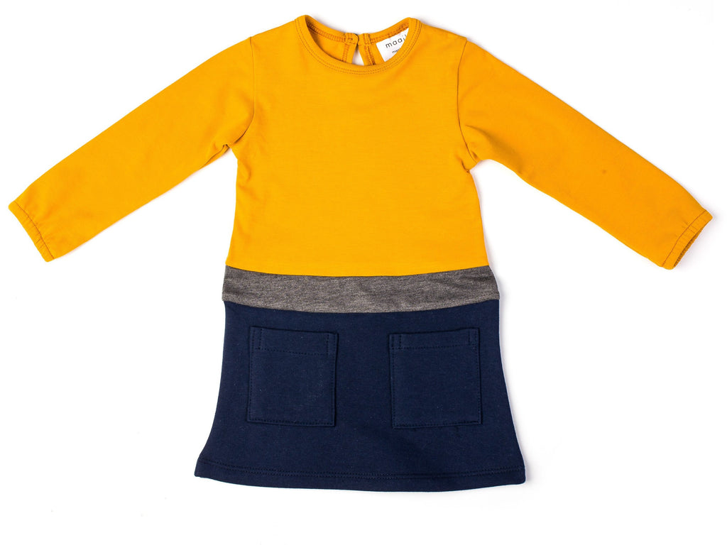 Colour Block Dress and Tights - Mustard and Navy