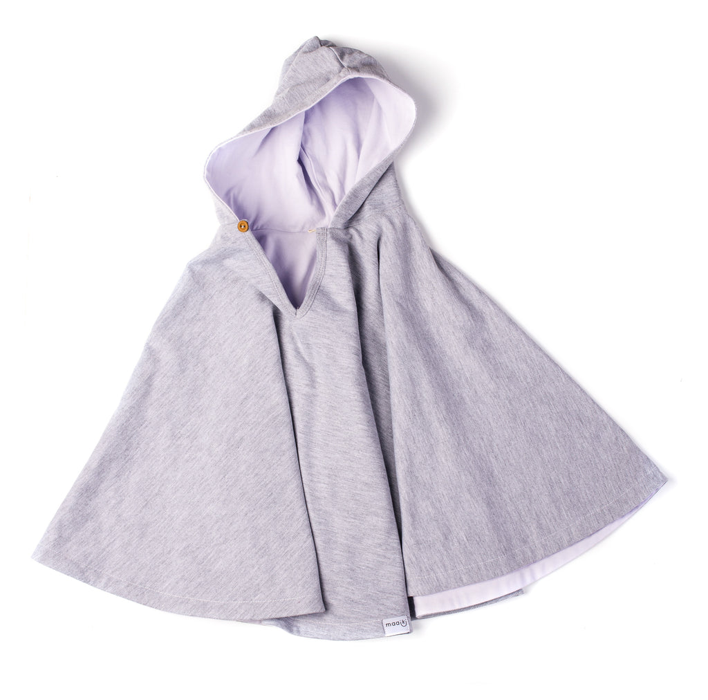 Car Seat Poncho - Grey Melange with lilac Lining