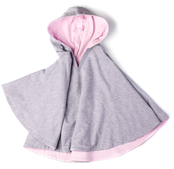 Car Seat Poncho - Grey Melange with pastel pink lining
