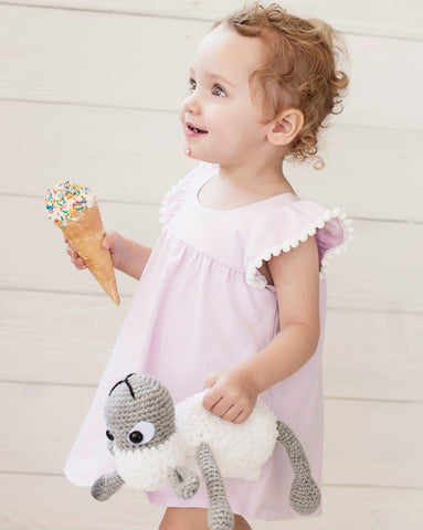 Flutter Dress with Bloomer and White Pom Pom Frills - All Smiles