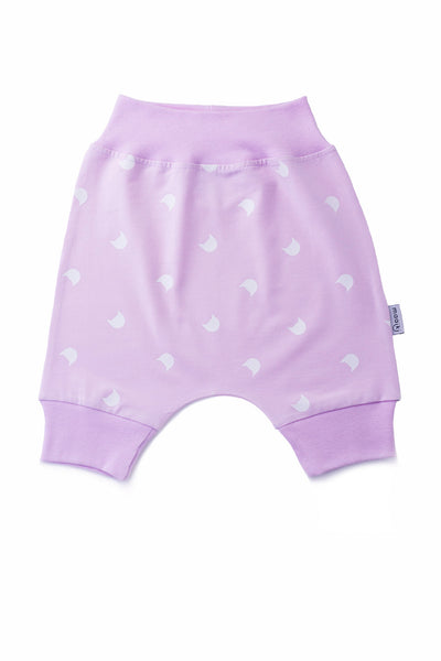 baby bloomer shorts - pink with cat print in white
