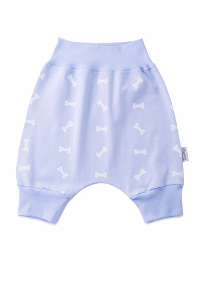 baby bloomer shorts - blue with dog bone print in white