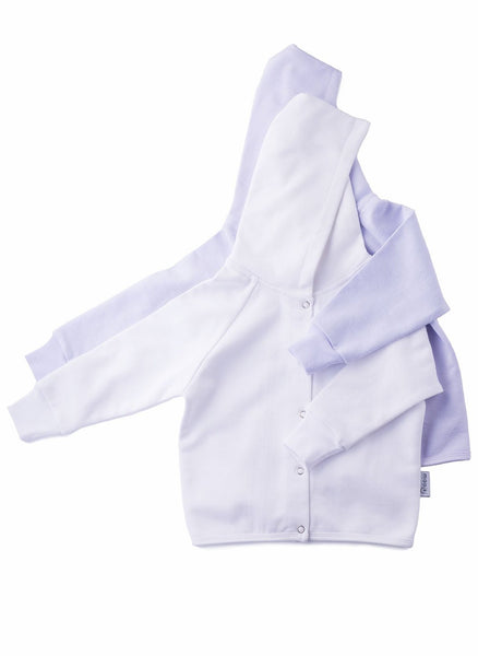 hoodies for babies in white and grey lilac