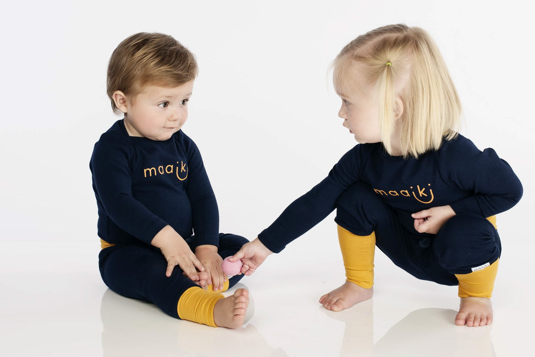 Unisex navy and mustard tights and vest for babies