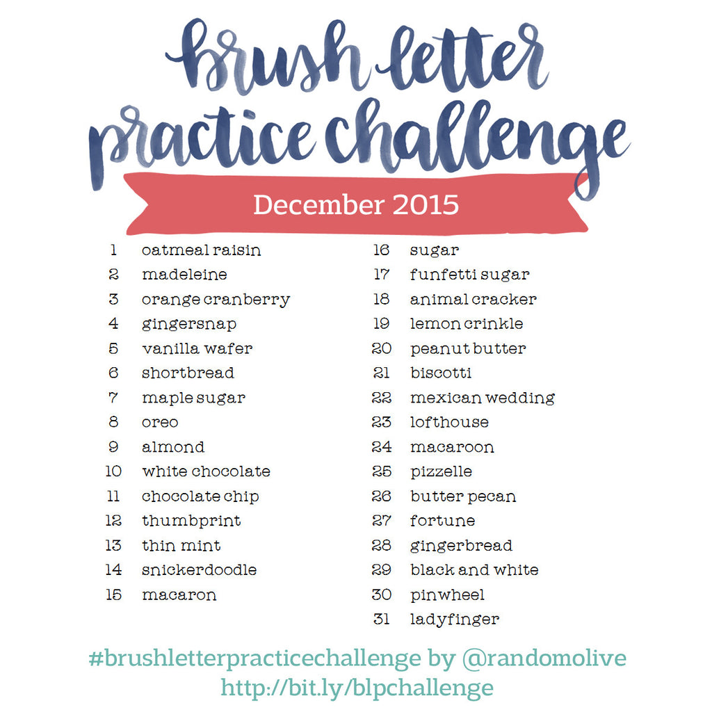 Brush Letter Practice Challenge for December 2015