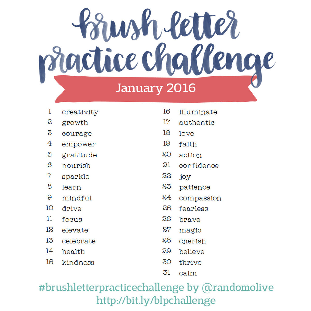 Brush Letter Practice Challenge for January 2016