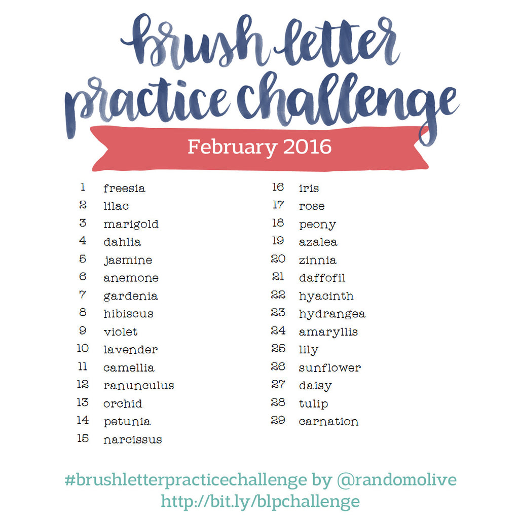 Brush Letter Practice Challenge for February 2016