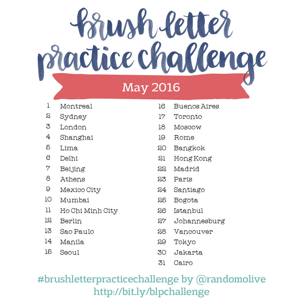 Brush Letter Practice Challenge for May 2016