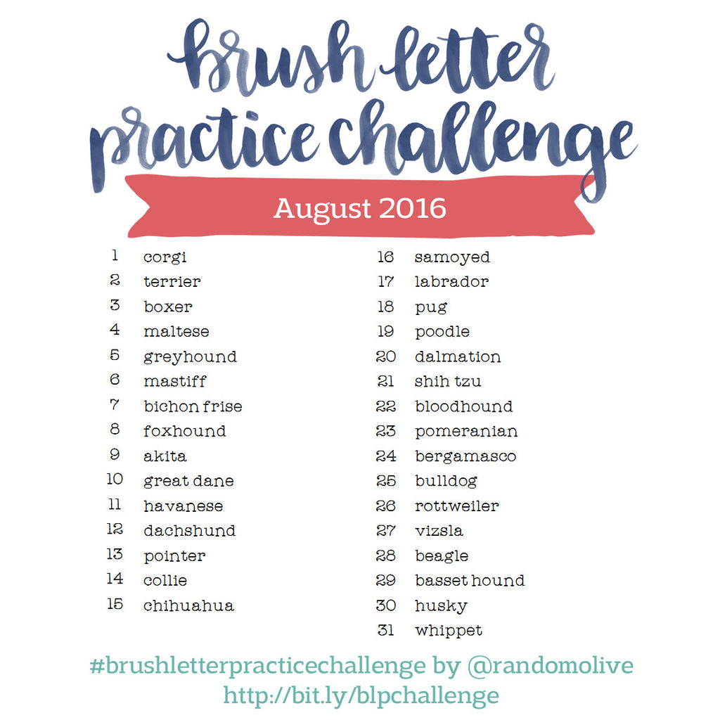 Brush Letter Practice Challenge for August 2016