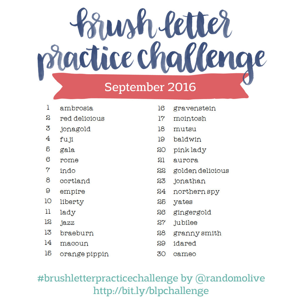 Brush Letter Practice Challenge for September 2016