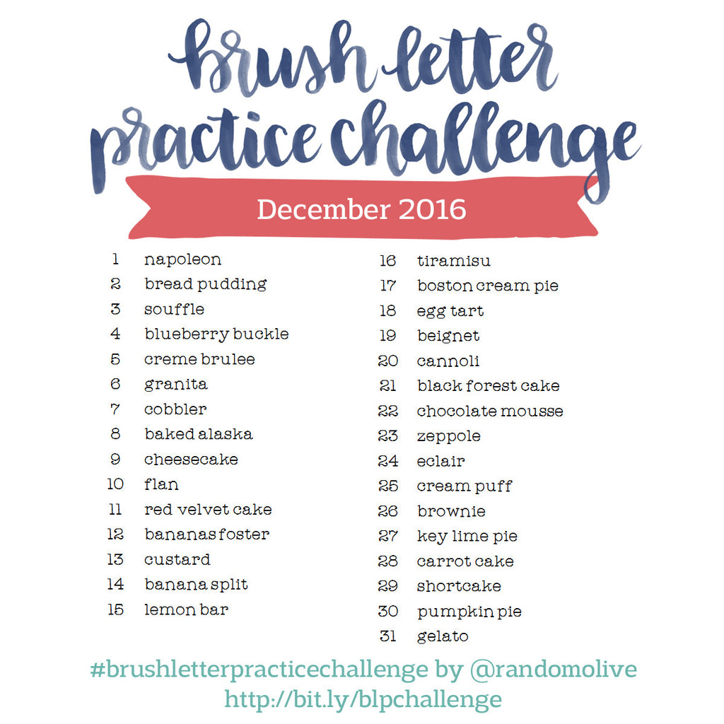 Brush Letter Practice Challenge for December 2016