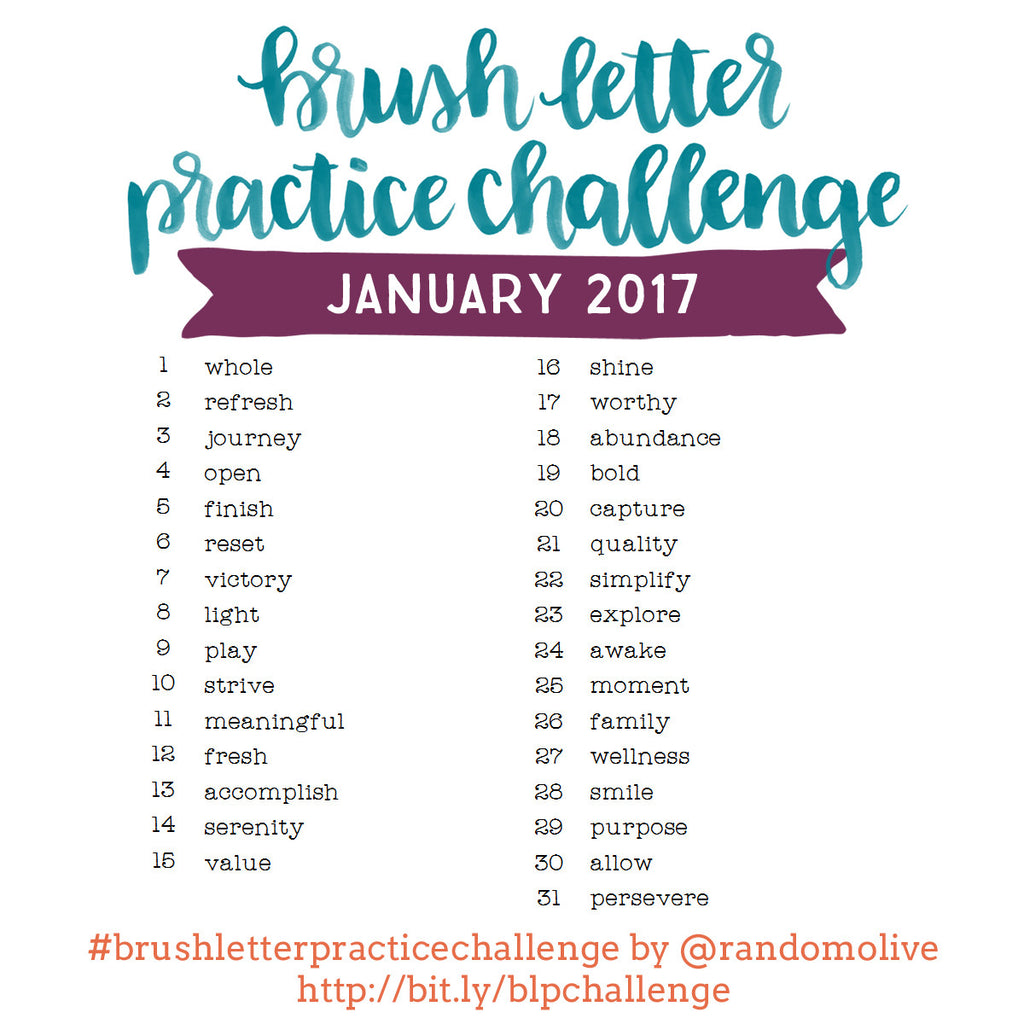 Brush Letter Practice Challenge for January 2017