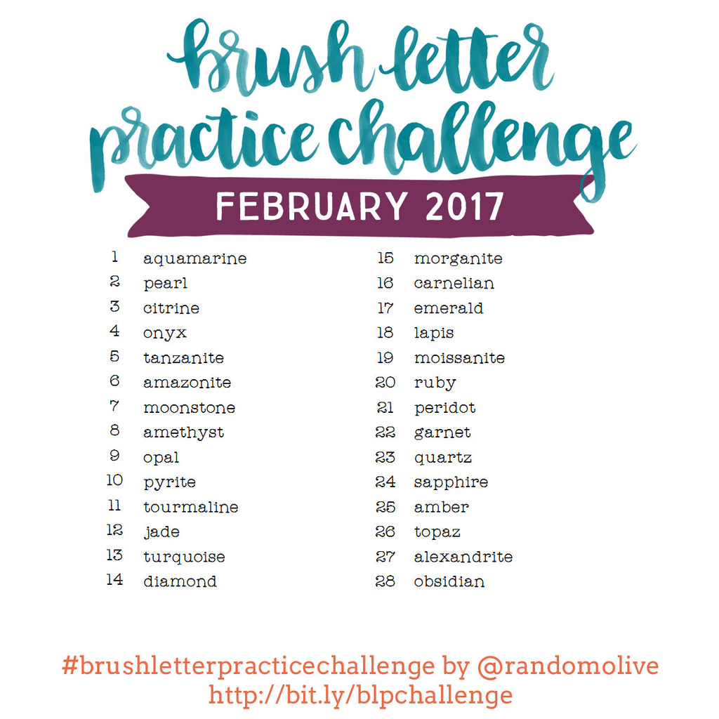Brush Letter Practice Challenge for February 2017