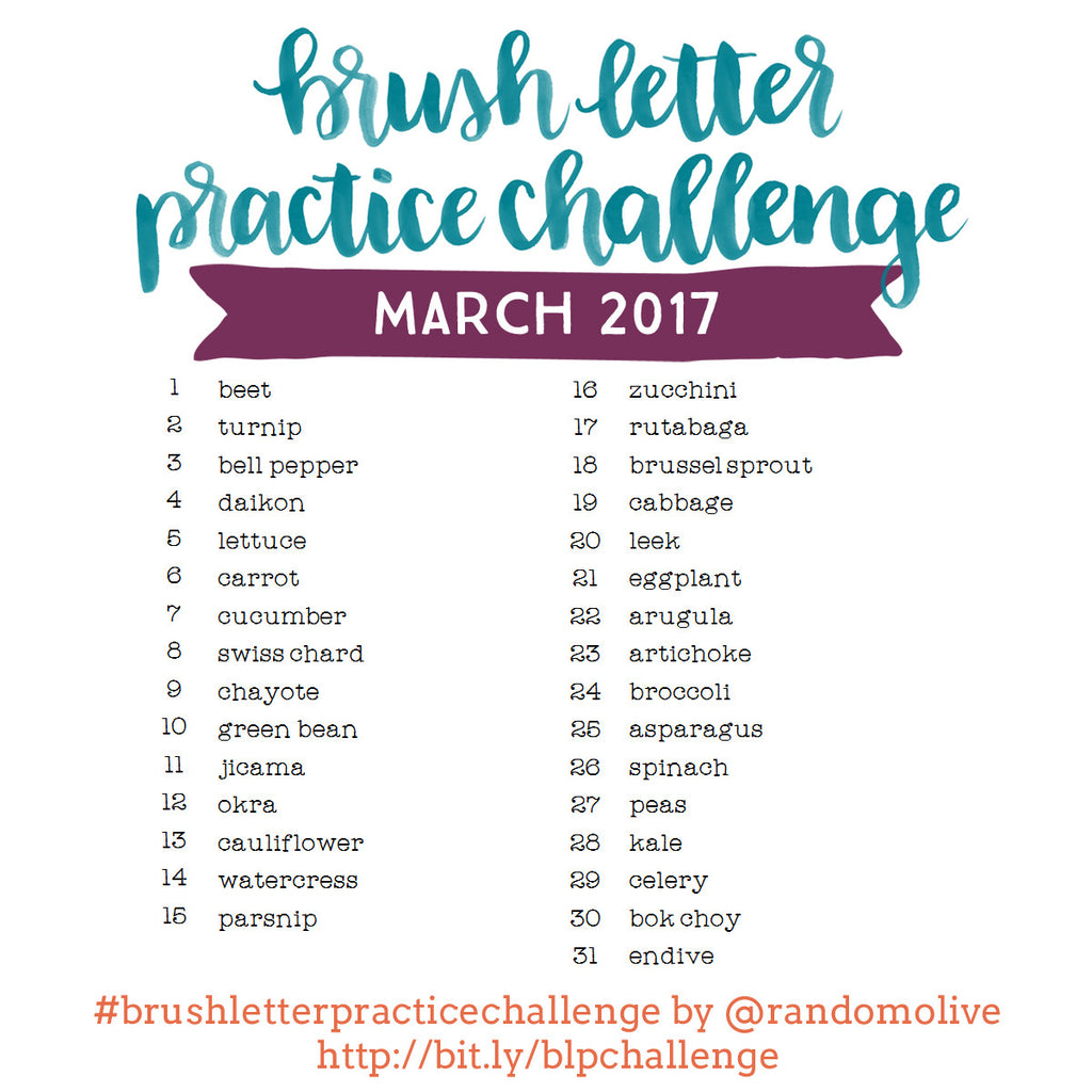 Brush Letter Practice Challenge for March 2017