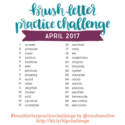 Brush Letter Practice Challenge for April 2017