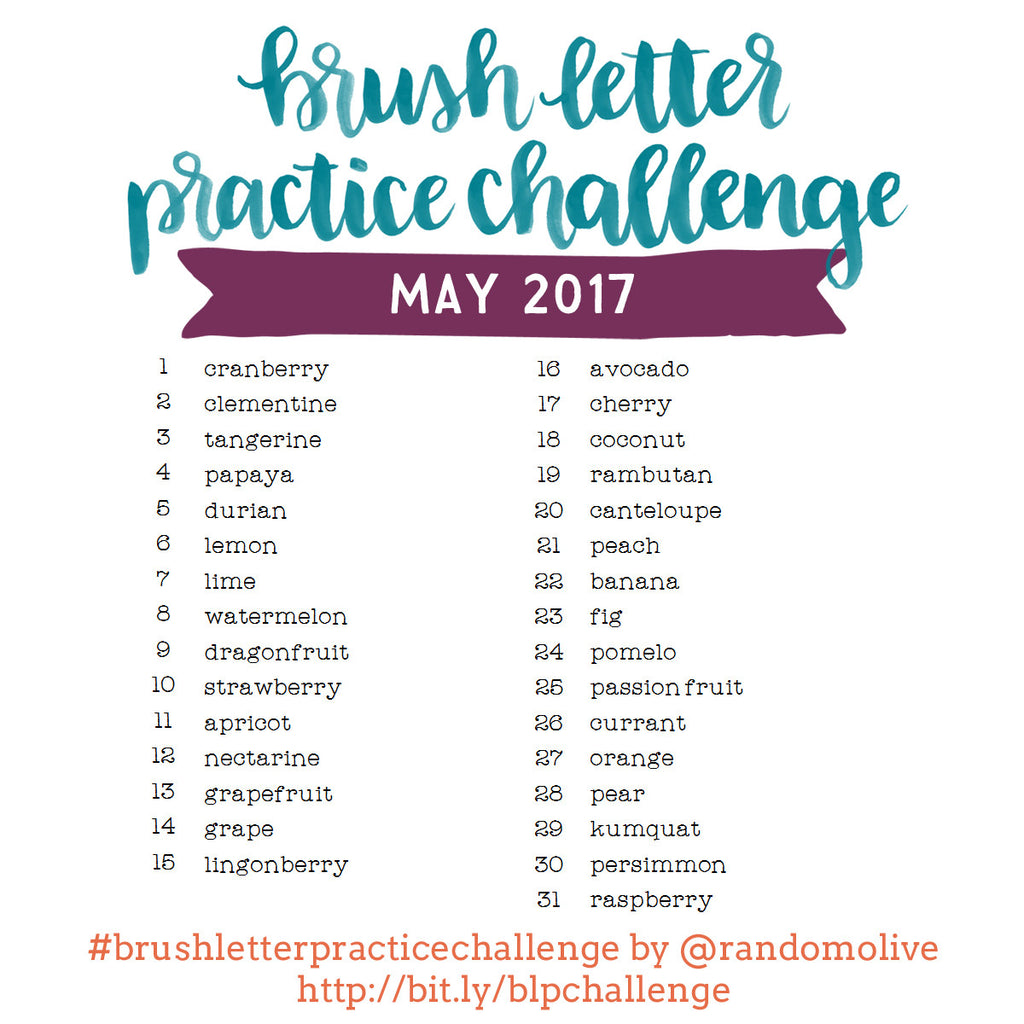 Brush Letter Practice Challenge for May 2017