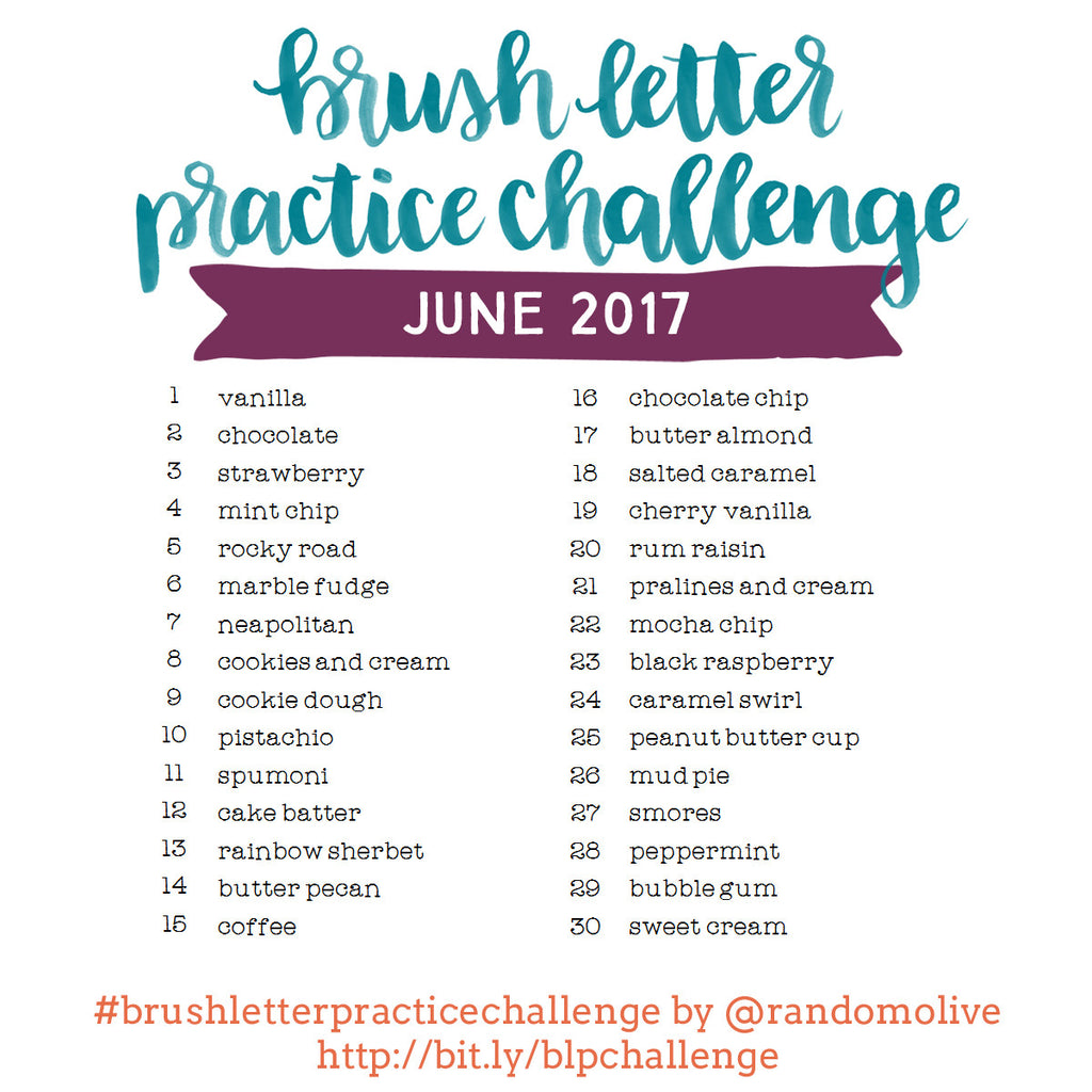 Brush Letter Practice Challenge for June 2017